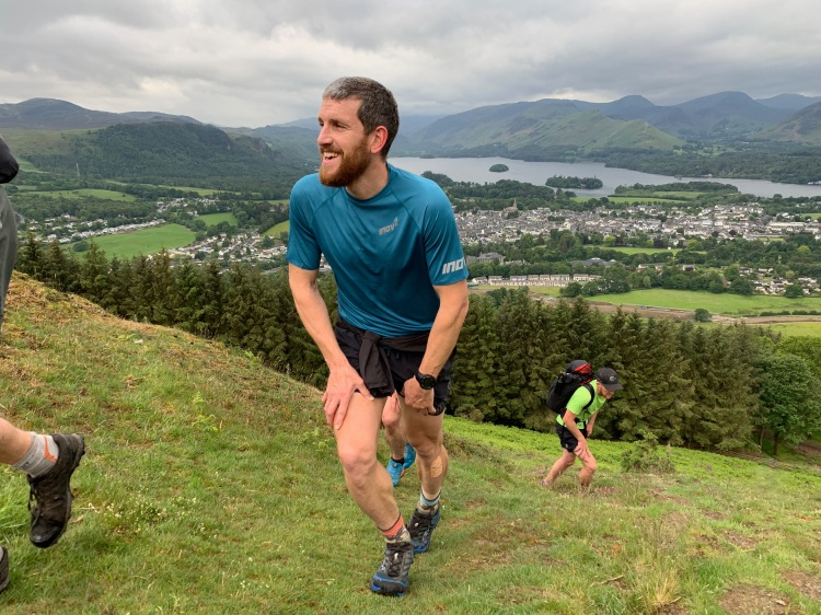 Paul Tierney ascending Latrigg, the initial peak, located above the town of Keswick