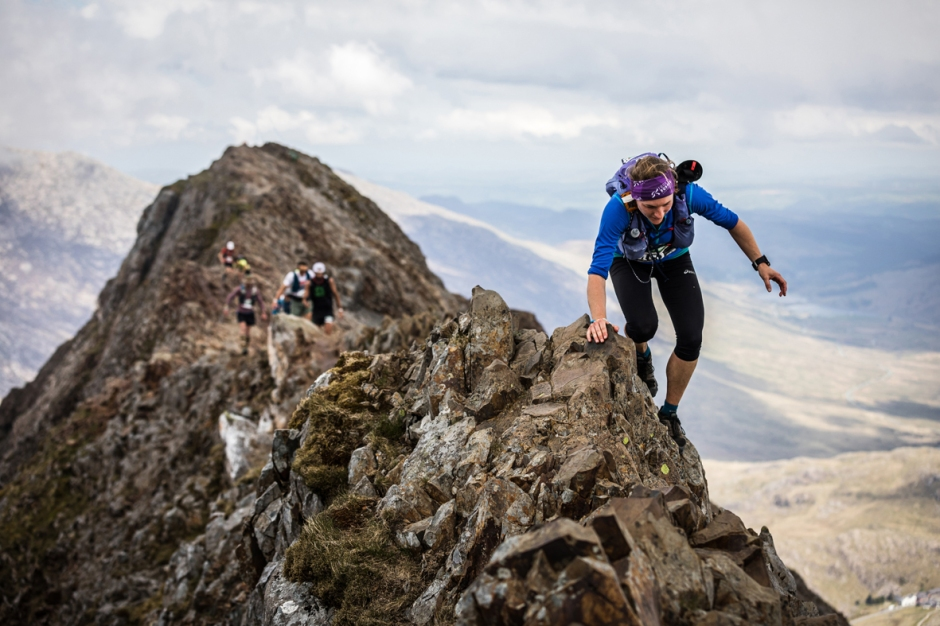 Lisa Watson tackles Crib Goch on day one of the 2019 Berghaus Dragon's Back Race - copyright No Limits Photography